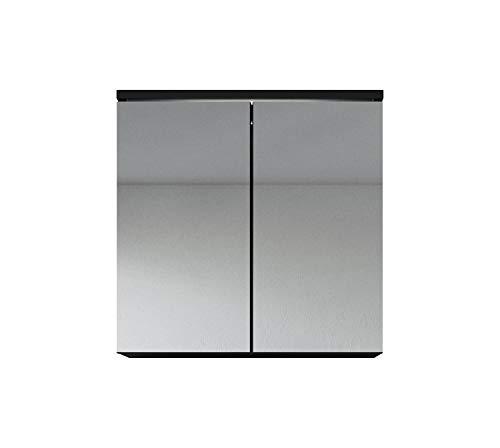 Badplaats B.V. Badezimmer Spiegelschrank Toledo 60 cm – Stauraum Unterschrank Möbel Zwei Türen Weiß Schwarz Sonoma Eiche hell Lefkas Bodega (Schwarz)