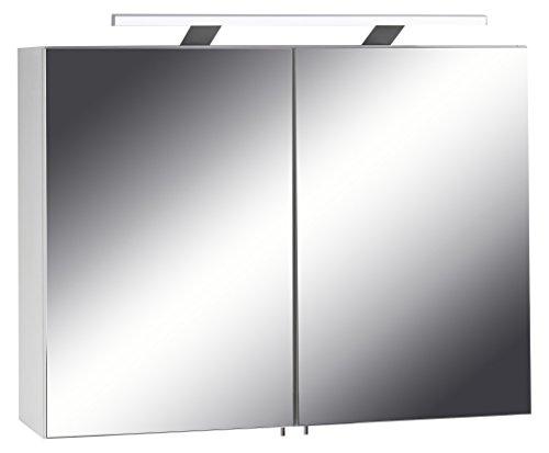 CAVADORE Spiegelschrank Sleek 04 / Eleganter Badezimmerschrank mit Spiegel 80cm / mit Warmton LED-Beleuchtung & Steckdose/Weiß / Soft Close Funktion und integrierte Steckdose / 21x80x60cm (TxBxH)