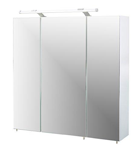 Schildmeyer Spiegelschrank, Melaminharzbeschichtete Spanplatte, weiß, 70 x 16 x 75 cm