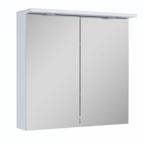 Quentis Spiegelschrank Breite 75 cm, Lichtleiste mit 2-fach LED-Beleuchtung, Unterbodenbeleuchtung, 2 Türen, beidseitig verspiegelt, Schalter-/ Steckdosenkombination