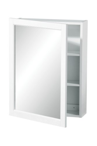 Premier Housewares Hängeschrank, einfache Spiegeltür, 66 x 51 x 16 cm, weiß