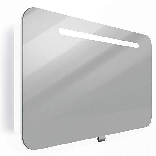 Spiegelschrank LED Weiß Hochglanz Badschrank Badspiegel Spiegel (80cm)