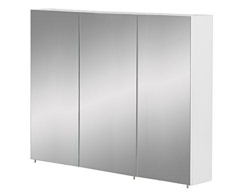 Schildmeyer Basic Spiegelschrank ohne Beleuchtung, melaminharzbeschichtete Spanplatte, weiß Glanz, 120 cm