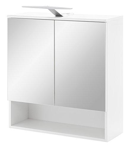 WILMES Spiegelschrank 2-TRG. mit LED Beleuchtung und offener Ablage Bad, Spanplatte beschichtet, Korpus Melamin Dekor Weiß Front Spiegel, 65 x 24 x 79 cm
