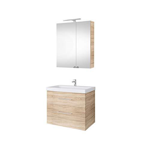 Planetmöbel Waschtischunterschrank 64cm mit Spiegelschrank Badmöbel Set für Badezimmer Gäste WC Sonoma Eiche