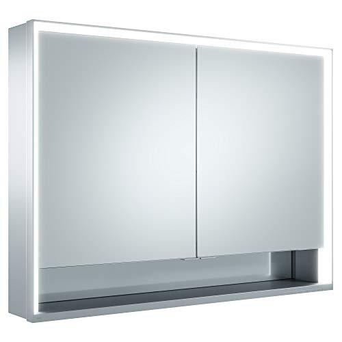 Keuco Spiegel-Schrank mit Variabler LED-Beleuchtung, Badezimmer-Spiegelschrank, mit Aluminium-Korpus, mit 2 Türen, 100x73,5x16,5 cm Royal Lumos