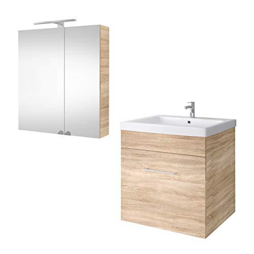 Planetmöbel Waschtischunterschrank mit Spiegelschrank Badmöbel Set 60cm für Badezimmer Gäste WC (Sonoma Eiche)