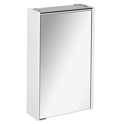 FACKELMANN schmaler Spiegelschrank Bad LED Beleuchtung 1 türig 42 cm weiß matt Denver