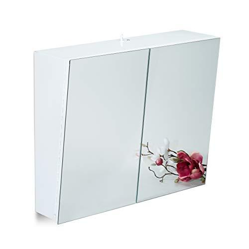 Relaxdays Zweitüriger Spiegelschrank Bad, Hängeschrank, Badspiegelschrank mit Steckdose, Stahl, HBT 50 x 60 x 18cm, weiß