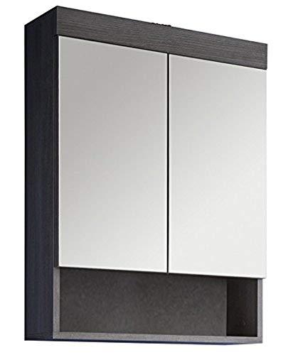 trendteam Badezimmer Spiegelschrank Spiegel Runner, 58 x 75 x 18 cm in Rauchsilber Dekor mit Ablage