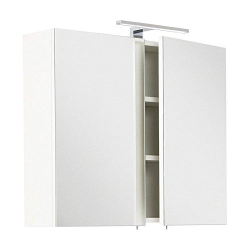 Lomadox Badezimmer Spiegelschrank in weiß, 75cm Breite, mit LED-Aufbauleuchte, Schalter und Steckdose, Made in Germany