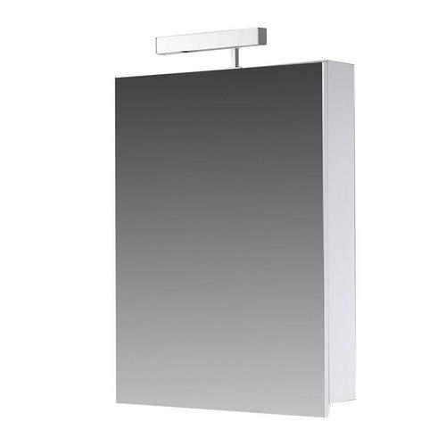 Eurosan 1-türiger Spiegelschrank, Superflach, Halogenaufsatzleuchte, Breite 40 cm, Weiß, Berlin, B40