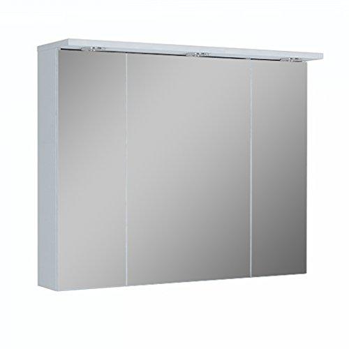 Quentis Spiegelschrank Breite 90 cm, Lichtleiste mit 3-fach LED-Beleuchtung, Unterbodenbeleuchtung, 3 Türen, beidseitig verspiegelt, Schalter-/ Steckdosenkombination