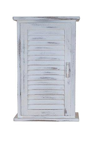moebel direkt online Massivholz-Badmöbel Badmöbel-Serie weiß gewischt mit trendigen Gebrauchsspuren Hängeschrank 1türig, dahinter 1 Boden. Maße: B. 35 x T. 22 x H. 55 cm
