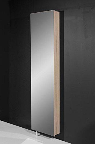 lifestyle4living Spiegel-Schuhschrank/Mehrzweckdrehschrank in Sonoma-Eiche-Nachbildung mit Spiegelfront, Maße: B/H/T ca. 50/195/18 cm
