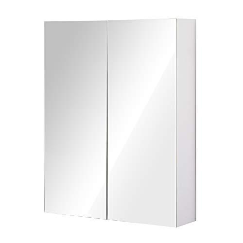 HOMCOM Bademöbel Spiegelschrank Badeschrank Hängeschrank Badezimmer Spiegel Schrank (75 x 60 x 15 cm)