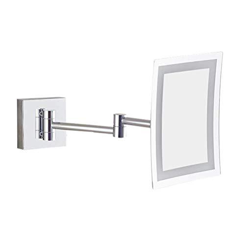 TKLLOVE Mirror LED Kosmetikspiegel Metall Quadratisch Drehbar Faltendes Teleskop Wand-Badezimmerspiegel, Optional 3X / 5X / 7X / 10X,5X
