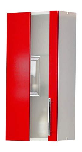 Kesper Badmöbel Hängeschrank 1 Tür mit 2 Glaseinlegeböden, rot, 20.5 x 32.5 x 70 cm