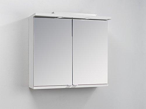 CAVADORE Badezimmer Spiegelschrank NUSA mit LED-Beleuchtung & Türgriffen / Moderner, 2-türiger Spiegel Hängeschrank in Hochglanz Weiß lackiert / 80 x 30 x 73 cm (B x T x H)