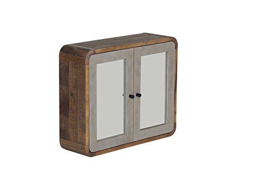 Woodkings® Spiegelschrank Dingle Holz Pinie Natur rustikal und MDF in Betonoptik grau Wandschrank mit Spiegel Wandspiegel Badmöbel Badezimmerspiegel