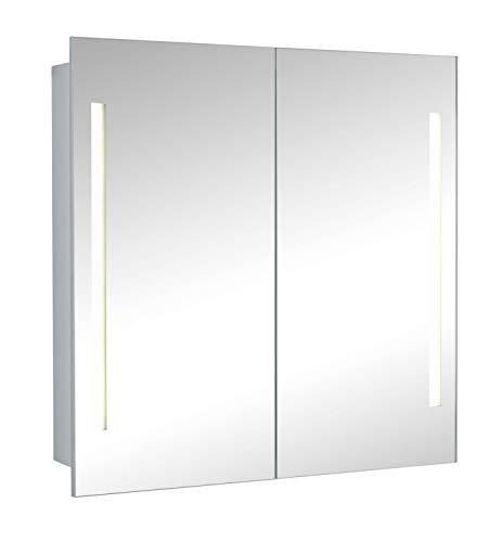 HAPA Design Spiegelschrank Paris Alu 2-türig mit LED Beleuchtung und Doppelspiegel (60x60x14,5cm)