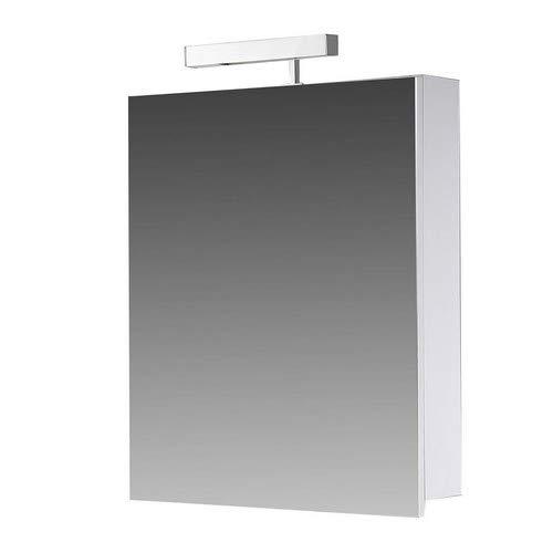 Eurosan 1-türiger Spiegelschrank, Superflach, Halogenaufsatzleuchte, Breite 50 cm, Weiß, Berlin, B50