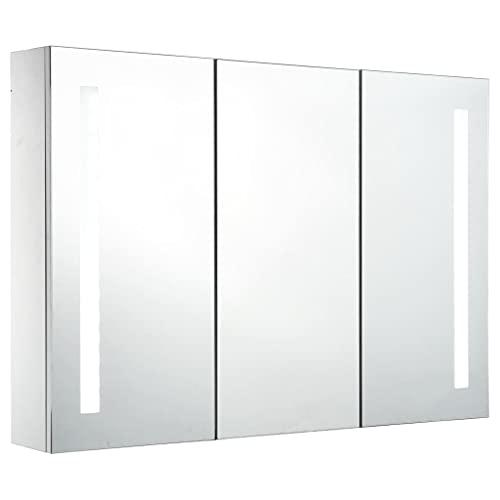vidaXL LED Spiegelschrank mit 5 Ablagen Badschrank Badspiegel Badezimmerspiegel Hängespiegel Badezimmer Spiegel Hängeschrank 89x14x62cm