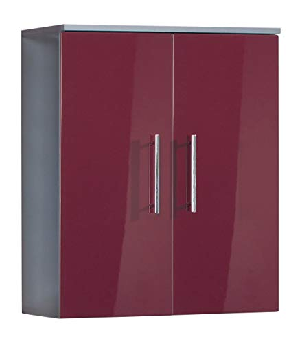 Kesper Badmöbel 3510910303801000 Hängeschrank Siena, 2 Türen, 74,7 x 60 x 20,5 cm, alu/rot
