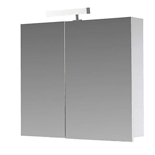 Eurosan 2-türiger Spiegelschrank, Superflach, Halogenaufsatzleuchte, Breite 70 cm, Weiß, Berlin, B70
