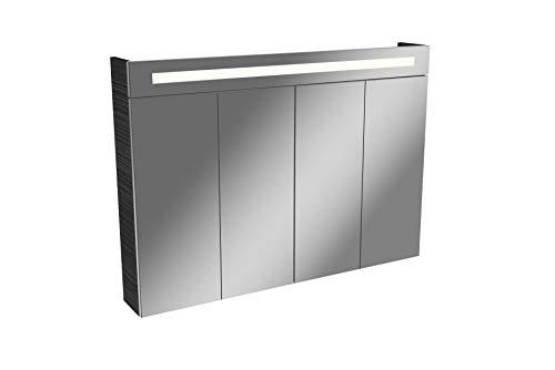 FACKELMANN LED Spiegelschrank TWINDY/Badschrank mit Falttüren und 3D Effekt/Maße (B x H x T): ca. 110 x 78,5 x 16,5 cm/Schrank mit Spiegel und Beleuchtung fürs Bad / 4 Türen/Korpus: Schwarz
