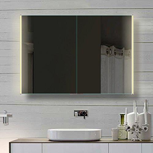 Badezimmer Spiegelschrank mit LED Beleuchtung lichtleitenden Acryl-Streifen 140cm HLC140H72