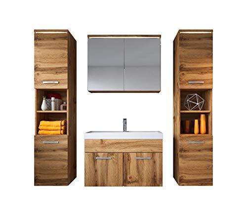 Badezimmer Badmöbel Set Paso XL LED 80 cm Waschbecken Wotan (Braun) - Unterschrank 2X Hochschrank Waschbecken Möbel