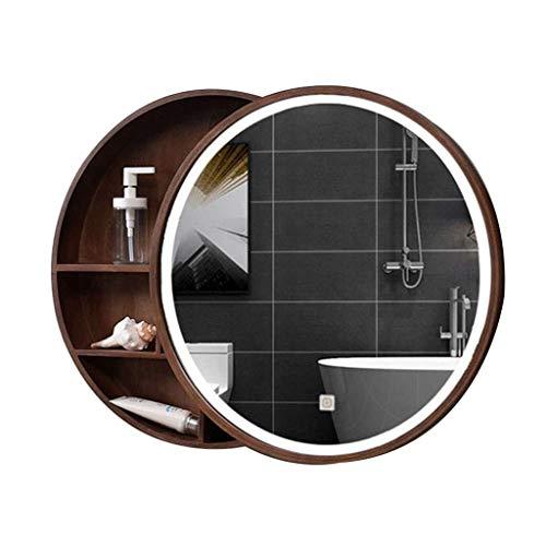 KAISIMYS Spiegelschränke Badezimmer Massivholz Spiegelschrank Intelligente Antibeschlag-, Schiebetür-Design Wand-LED-Lichtschrank (Farbe: Braun, Größe: 50 cm)