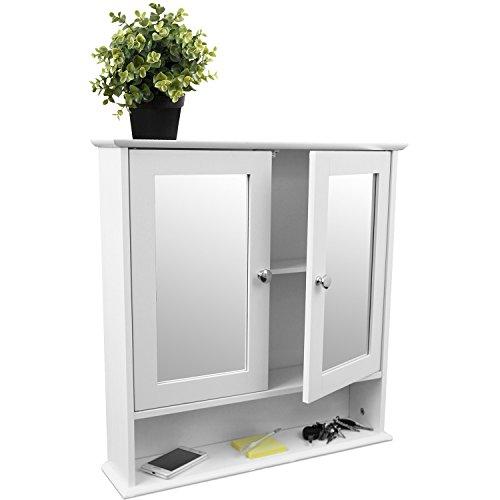 Multistore 2002 Wandschrank mit Spiegel und Ablage 56x13x58cm Spiegelschrank Hängeschrank für Bad, Flur und Küche Weiß