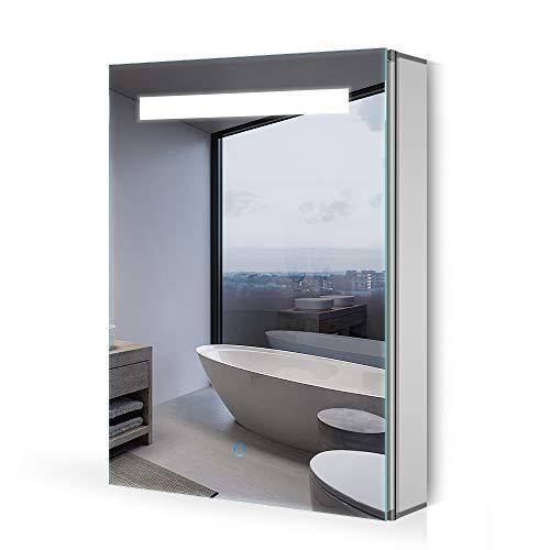 Quavikey® LED Spiegelschrank 40x60cm Badezimmer Spiegelschrank Aluminium mit LED Beleuchtung Lichtspiegelschrank Antibeschlag Touchschalter Helligkeit Dimmbar Soft-Close-Funktion 6500K Kalteweiß