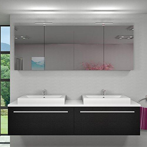 Badmöbel Set City 200 V1 Esche schwarz, Badezimmermöbel, Waschtisch 200cm, Beleuchtung Spiegelschrank:mit 2 x 5W LED-Strahler +50.-EUR