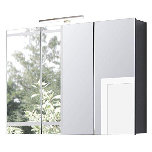 Spiegelschrank RONAO253 mit LED Beleuchtung, anthrazit grau ,mit Steckdose, 90 cm breit, 3 Türen, Glas-Böden, Türen gedämpft