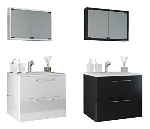 VCM Waschplatz Badmöbel Badezimmer Komplett Set Waschtisch Waschbecken Spiegel Badblock Tenas Weiß