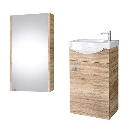 Planetmoebel Badmöbel Set Gäste WC Waschtischunterschrank Keramikwaschbecken Spiegelschrank 40cm (Sonoma Eiche)
