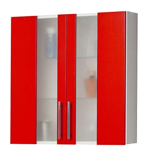 Kesper Badmöbel Hängeschrank 2 Tür mit 2 Glaseinlegeböden, rot, 20.5 x 65 x 70 cm