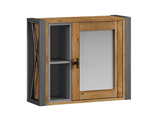 Woodkings® Spiegelschrank Detroit mit Ablage, recycelte Pinie mit Metall Rahmen grau, Wandspiegel Industrie Design Möbel