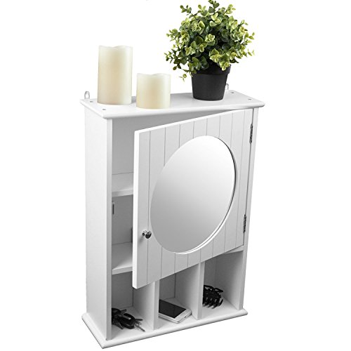 Multistore 2002 Spiegelschrank Hängeschrank Wandschrank für Bad und Flur, 56x40x15cm, Holz, Weiß
