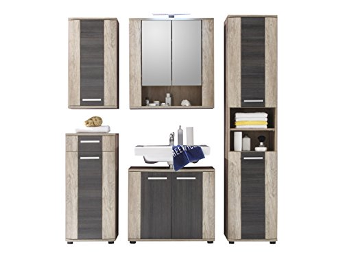 trendteam smart living Badezimmer 5-teilige Set Kombination Star, 180 x 186 x 32 cm in Eiche Monument