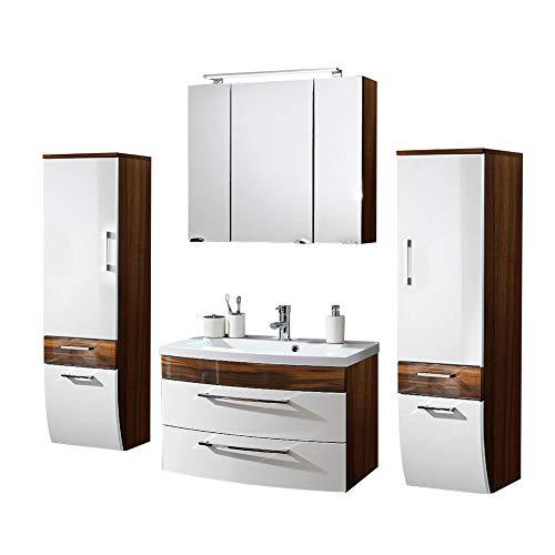 Badmöbel Set 4-teilig ● Weiß hochglanz & Walnuss Holz-Optik ● Badezimmer Komplettset: Spiegelschrank mit LED Beleuchtung, Waschtisch mit Unterschrank, 2 Hochschränke ● Schubladen & Türen mit Softclose