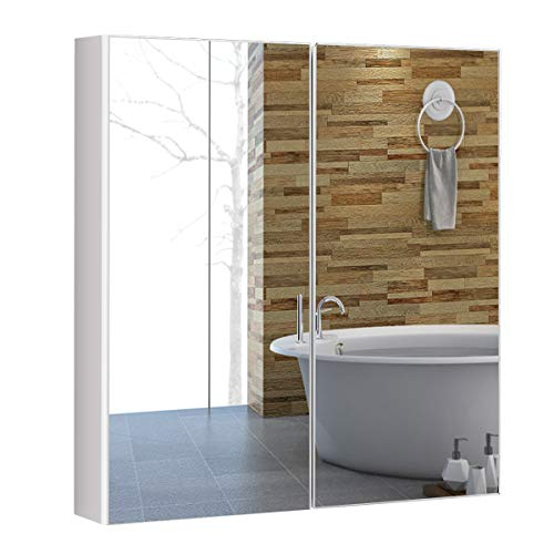 COSTWAY Spiegelschrank Bad, Badezimmerspiegelschrank weiß, Wandschrank mit Spiegel, Hängeschrank Holz, Badezimmerspiegel 65x62x11,5cm