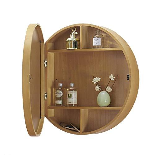Xing Hua home Spiegel Badezimmer Spiegelschrank Badezimmer Spiegel mit Regal Spiegelschrank Lagerung Schminkspiegel Wandbehang (Color : Wood Color, Size : 50 * 50 * 13cm)