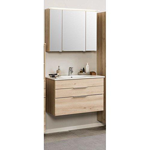 Badmöbel Set 2-teilig ● Holzoptik Buche Iconic ● Badezimmer Waschplatz Set: 60cm Waschtisch Unterschrank mit Softclose ● Spiegelschrank mit Beleuchtung ● BxHxT: 60x200x48cm