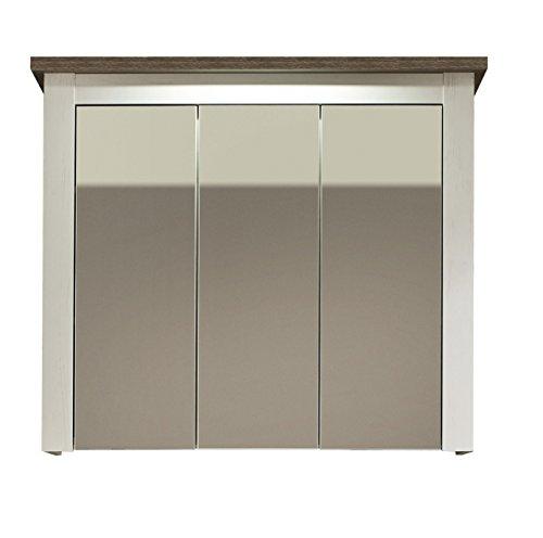 trendteam smart living Badezimmer Spiegelschrank Spiegel Lotte, 88 x 76 x 24 cm in Pinie Weiß Struktur Dekor im Landhausstil mit viel Stauraum