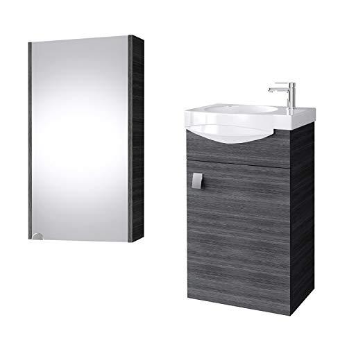 Planetmoebel Badmöbel Set Gäste WC Waschtischunterschrank Keramikwaschbecken Spiegelschrank 40cm (Anthrazit)