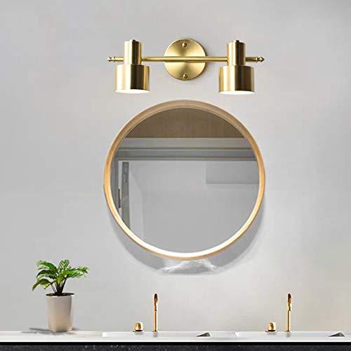 YXNKK E27 Spiegelleuchte Badezimmer Gold Bad Spiegellampe, 3-flammig, Alle Kupfer Badlampe Schminkspiegel Leuchte Innen Wandleuchte fur Schminktisch Waschbecken Beleuchtung,45CM